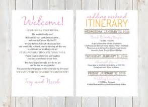 wedding welcome bag itinerary template 17 best ideas about wedding weekend itinerary on