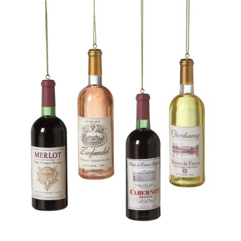 wine bottle merlot zinfandel cabernet chardonnay ornaments