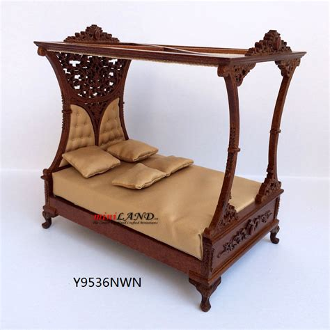 dollhouse bed for luxurious canopy bed for dollhouse 1 12 scale miniature