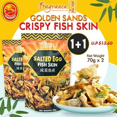 Kkokko Salted Egg Fish Skin qoo10 fragrance 咸蛋鱼皮 golden sands salted egg crispy fish skin 70g x 2 groceries