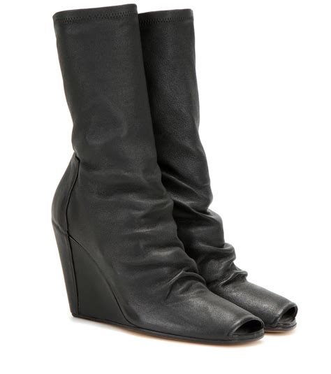 rick owens peep toe leather wedge boots in black lyst