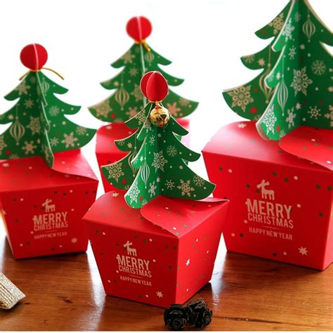 Packaging Decoration Tulisan Merry tree design 12pcs paper box gifts chocolate cookie packaging favors