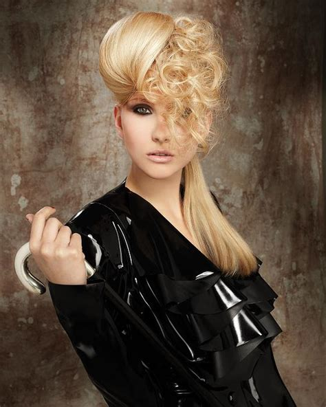 dominatrix hairstyle a long blonde hairstyle from the fetish courture