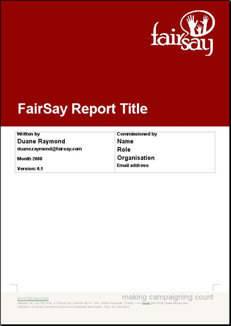 report title page sle fairsay report title page