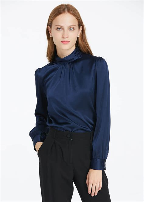 Navy Blue Silk Blouse by 19mm Retro Style Silk Blouse Sale From Lilysilk