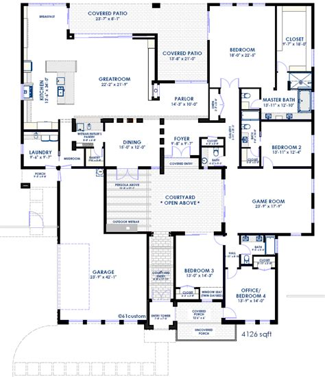 contemporary courtyard house plan 61custom modern courtyard house plan 61custom contemporary modern house plans