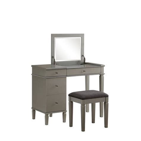 bedroom vanity set bedroom vanity set in silver 580435sil01u
