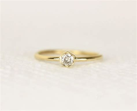 hexagon engagement ring in 14k gold wedding