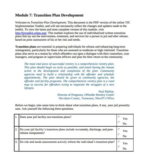 9 Sle Transition Plans Pdf Word Pages Sle Templates Business Transition Plan Template