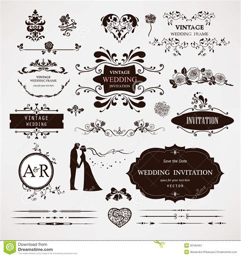 wedding design elements vector free vector design elements and calligraphic page decor stock