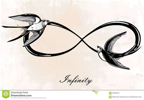infinity symbol with swallow illustration stock