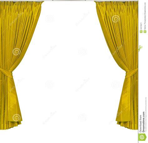 gordijnen wit satijn gele gordijnen op witte achtergrond stock afbeelding