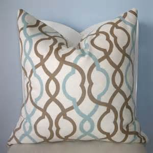 blue and brown geometric trellis decorative pillow cover