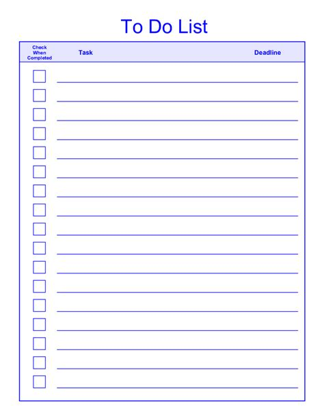 Printable To Do List Templates To Do List Template Docs