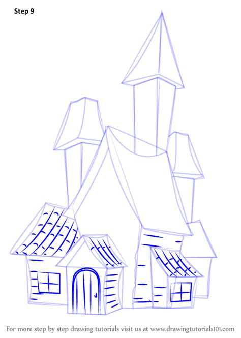 step 7 how to draw a haunted house learn how to draw a spooky haunted house halloween step