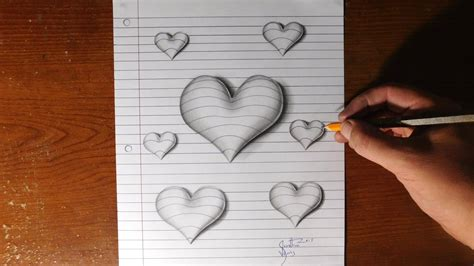 How To Make A 3d Drawing On Paper - how to draw 3d hearts line paper trick
