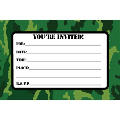 camouflage invitation template camouflage invitations cimvitation