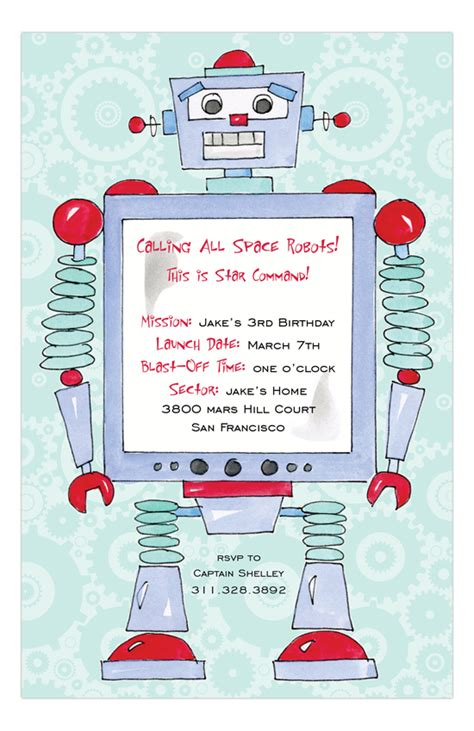 printable robot stationery robot custom birthday invitations polka dot design