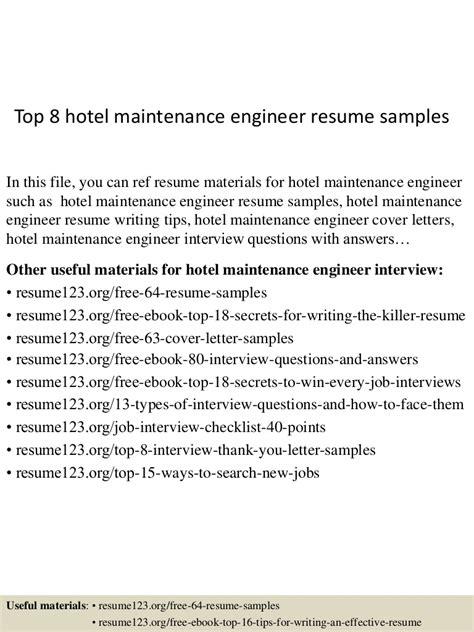 top  hotel maintenance engineer resume samples