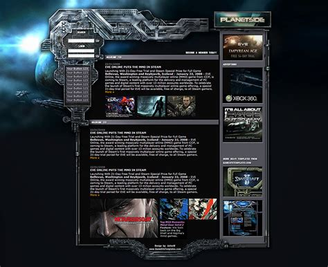 game website layout eve space website