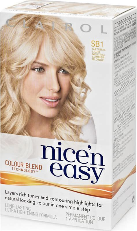 nice and easy hair colour chart clairol nice n easy light neutral blonde sb1 compare