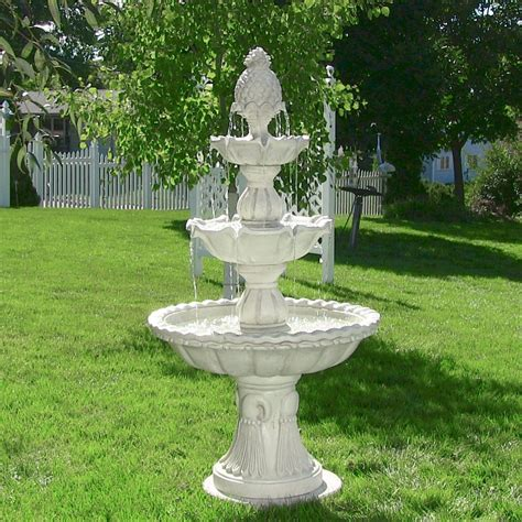 bathroom water fountain th is tall 3 tier welcome outdoor water fountain bird bath features a pineapple top