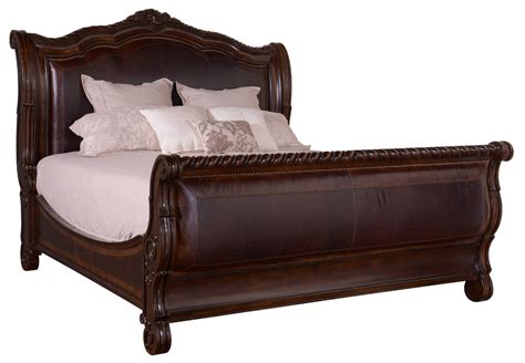 slay bed valencia leather sleigh bed
