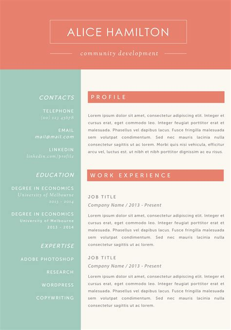 Simple One Page Resume Sample by The Alice Resume
