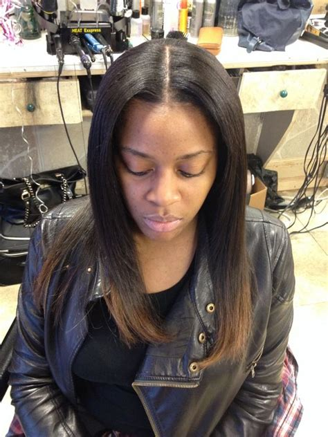weave hairstyles with middle part full sew in weave w middle part leave out salon styles