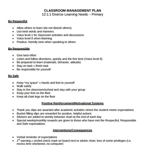 classroom management plan template plan template