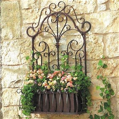 Wall Planters Outdoor Wrought Iron european wrought iron trellis wall planter