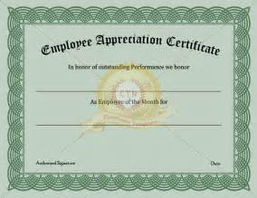 Employee Award Certificate Template by Employee Appreciation Certificate Certificate Template