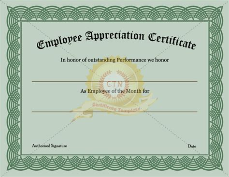employee appreciation certificate template employee of the month certificate search results