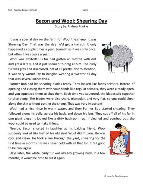 3rd Grade Reading Comprehension Worksheets