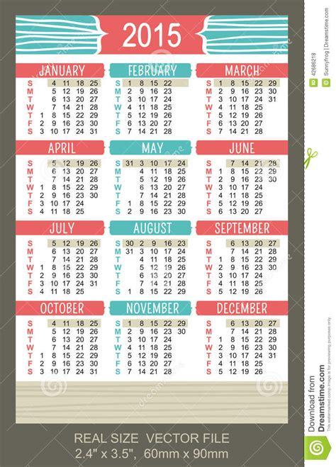 printable calendar 2015 pocket pocket calendar 2015 vector start on sunday stock vector