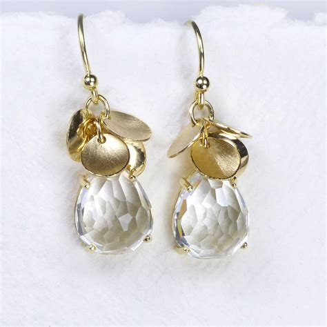 Topaz 5 18ct white topaz petal earrings in 18ct gold by lilia nash