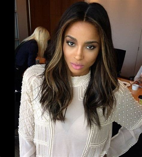 only front highlights celebrity hair changes 2013 ciara wears a longer dark