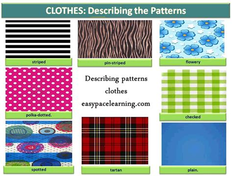 pattern types clothing patterns for clothes learning basic english