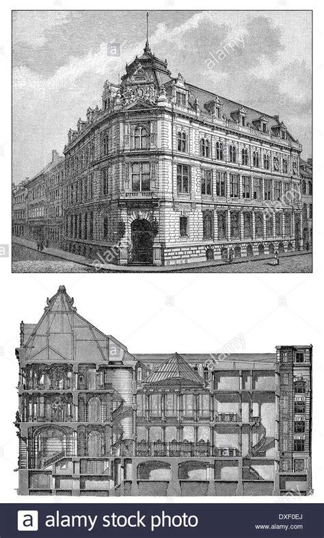 bayrische bank historic illustration 19th century bank building