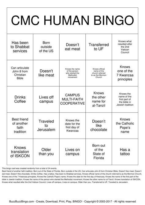 human bingo template cmc human bingo bingo cards to print and customize