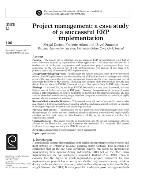 Mba Project Report On Erp Implementation Pdf by 3 Project Management A Study Of A Successful Erp