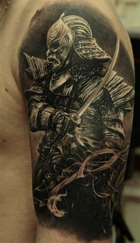 samurai tattoo black and grey classic black and grey samurai tattoo on man left half sleeve