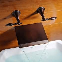rubbed bronze finish waterfall widespread bathtub