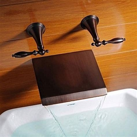 bathtub waterfall faucets oil rubbed bronze finish waterfall widespread bathtub