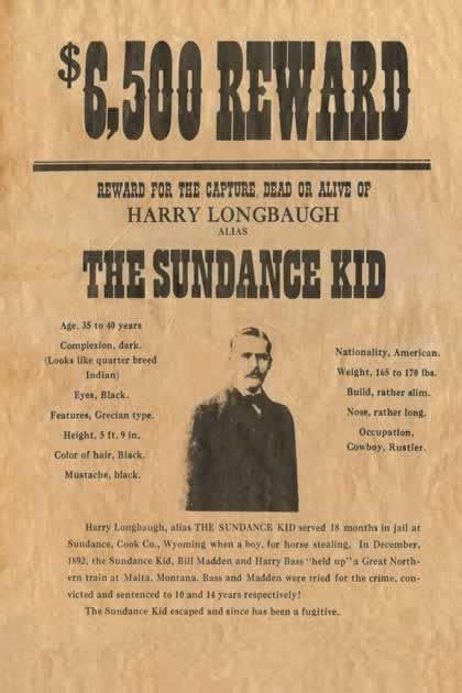 sundance kid reward wanted poster reprod old wild west