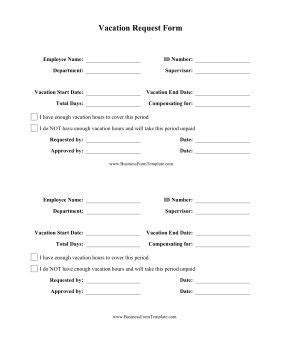 employees     printable vacation request