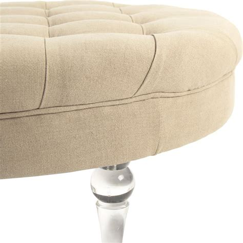 round linen ottoman elisa modern classic acrylic beige linen round ottoman