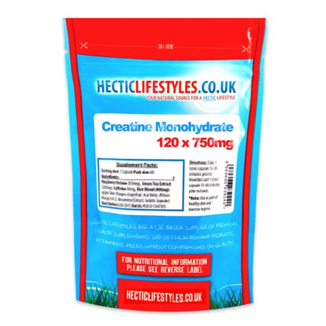 creatine 750mg creatine monohydrate 750mg 120 capsules hectic lifestyles