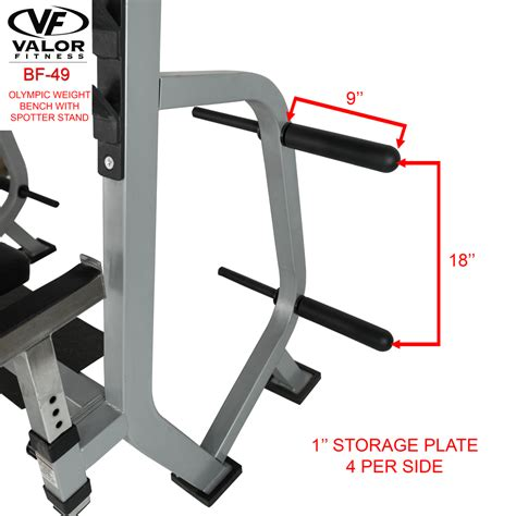 weight bench with spotter bf 49 olympic weight bench with spotter stand valor