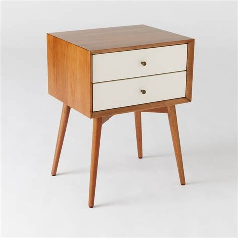 Mid Century Modern Bedside Tables by Midcentury Nightstand White And Acorn Midcentury
